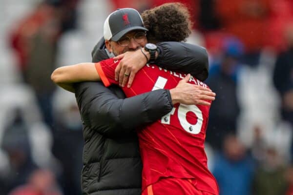 LIVERPOOL, ENGLAND - Sunday, May 23, 2021: Liverpool's manager Jürgen Klopp (L) embraces Rhys Williams after the final FA Premier League match between Liverpool FC and Crystal Palace FC at Anfield. Liverpool won 2-0 and finished 3rd in the table. (Pic by David Rawcliffe/Propaganda)