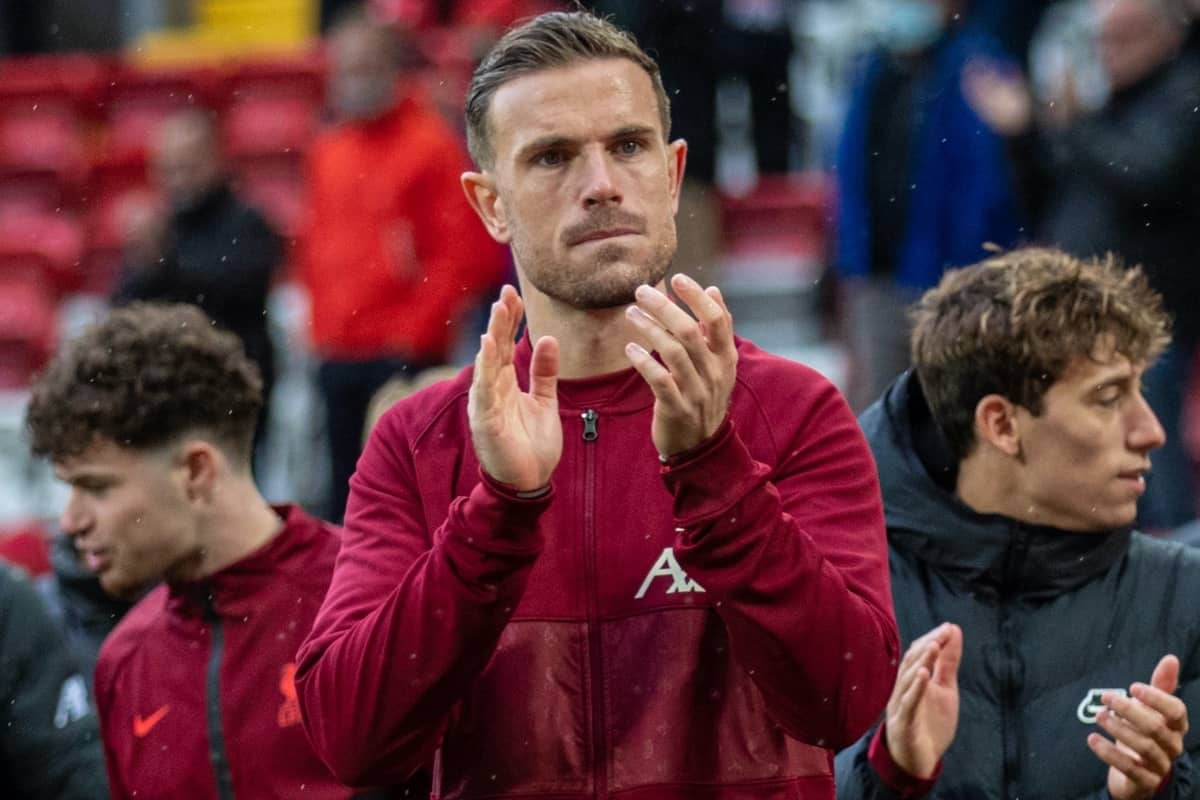 LIVERPOOL, ENGLAND - Sunday, May 23, 2021: Liverpool's captain Jordan Henderson applauds the supporters during a lap of honour after the final FA Premier League match between Liverpool FC and Crystal Palace FC at Anfield. Liverpool won 2-0 and finished 3rd in the table. (Pic by David Rawcliffe/Propaganda)