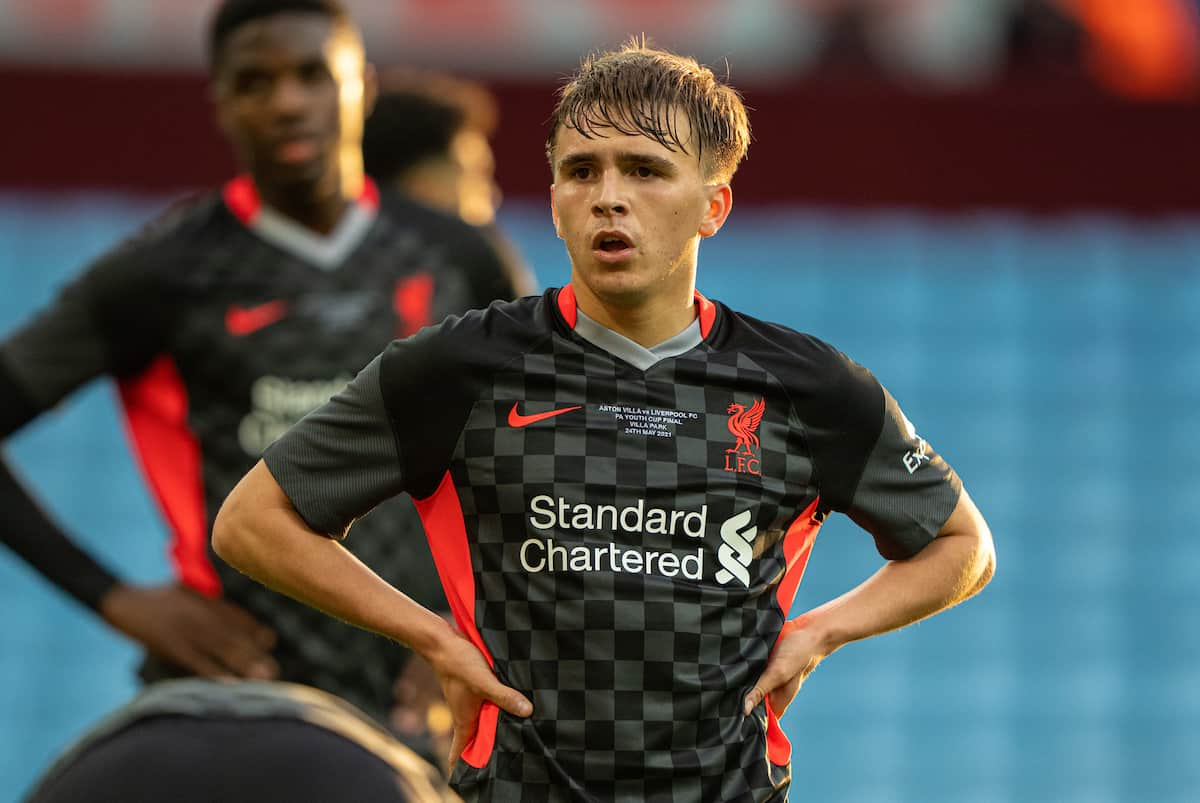 BIRMINGHAM, ENGLAND - Monday, May 24, 2021: Liverpool's James Norris during the FA Youth Cup Final match between Aston Villa FC Under-18's and Liverpool FC Under-18's at Villa Park. Aston Villa won 2-1. (Pic by David Rawcliffe/Propaganda)