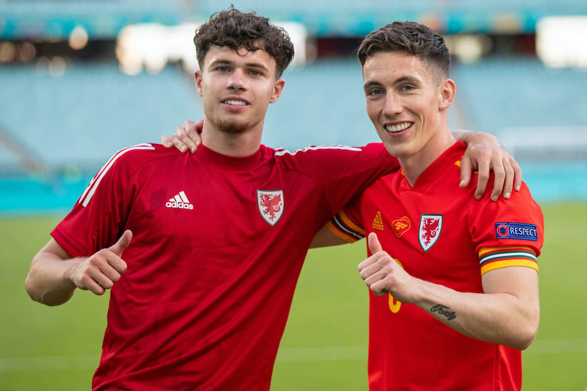 BAKU, AZERBAIJAN - Saturday, June 12, 2021: Wales' Neco Williams (L) and Harry Wilson during a warm-down after the UEFA Euro 2020 Group A match between Wales and Switzerland at the Baku Olympic Stadium. The game ended in a 1-1 draw. (Photo by David Rawcliffe/Propaganda)