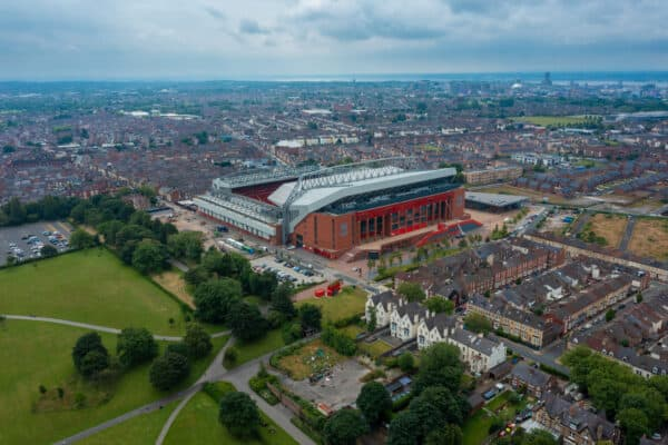 LIVERPOOL, ENGLAND - Thursday, July 8, 2021: An aerial view of Anfield, the home stadium of Liverpool Football Club, with Stanley Park to the right. (Pic by David Rawcliffe/Propaganda)