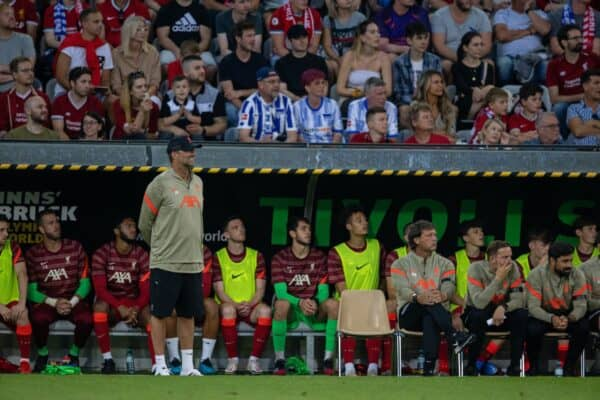 Liverpool's manager Jürgen Klopp during a pre-season friendly match between Liverpool FC and Hertha BSC at the Tivoli Stadion. Liverpool lost 4-3. (Pic by Jürgen Faichter/Propaganda)