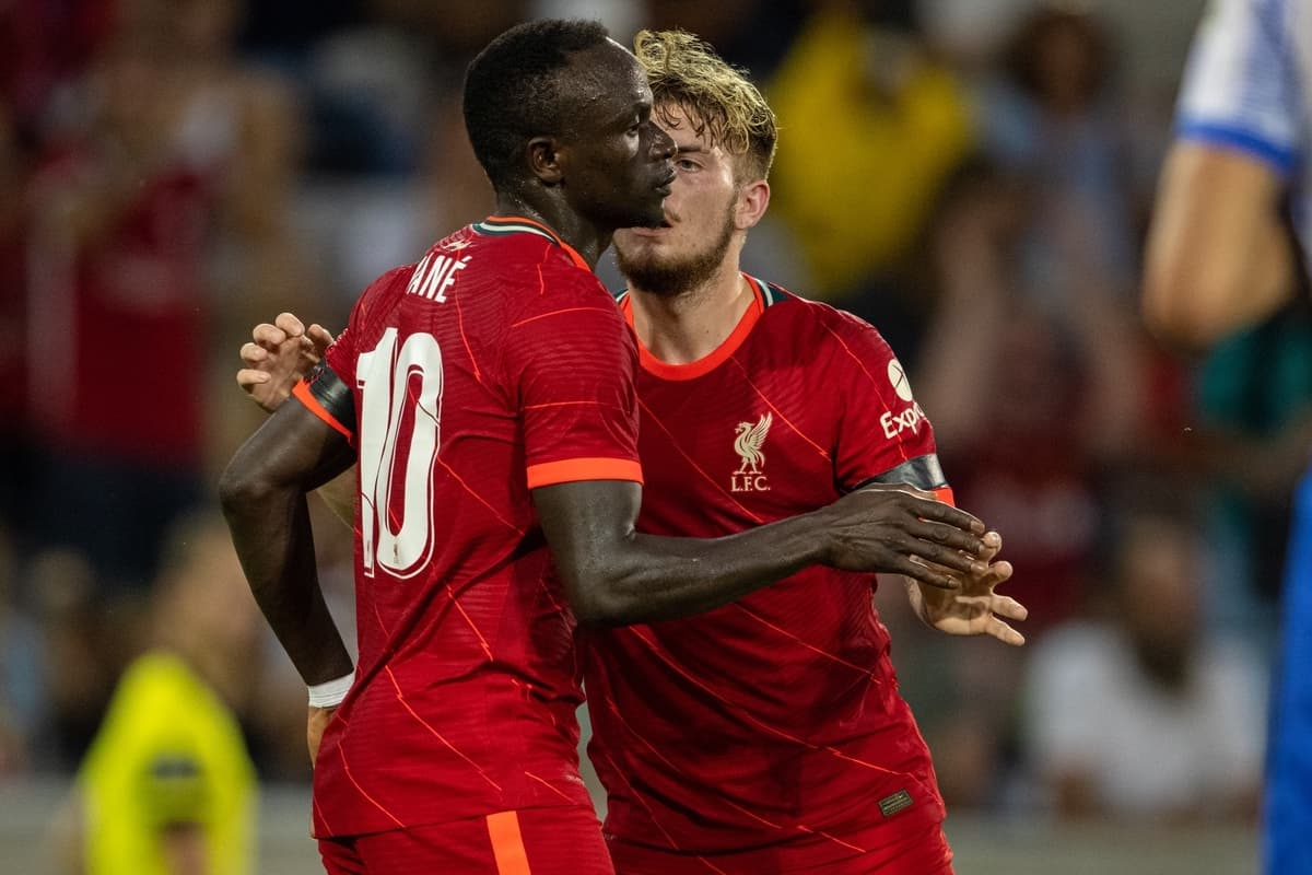 INNSBRUCK, AUSTRIA - Thursday, July 29, 2021: Liverpool's Sadio Mané (L) celebrates with team-mate Harvey Elliott after scoring the his side's first goal during a pre-season friendly match between Liverpool FC and Hertha BSC at the Tivoli Stadion. Liverpool lost 4-3. (Pic by Jürgen Faichter/Propaganda)