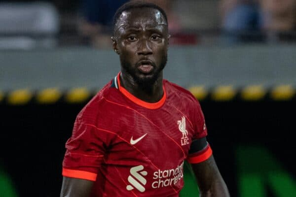 INNSBRUCK, AUSTRIA - Thursday, July 29, 2021: Liverpool's Naby Keita during a pre-season friendly match between Liverpool FC and Hertha BSC at the Tivoli Stadion. Liverpool lost 4-3. (Pic by Jürgen Faichter/Propaganda)