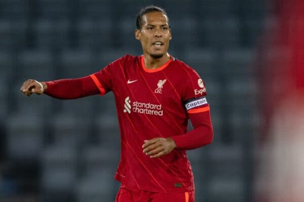 INNSBRUCK, AUSTRIA - Thursday, July 29, 2021: Liverpool's captain Virgil van Dijk makes his return from a long injury lay off as a substitute during a pre-season friendly match between Liverpool FC and Hertha BSC at the Tivoli Stadion. Liverpool lost 4-3. (Pic by Jürgen Faichter/Propaganda)