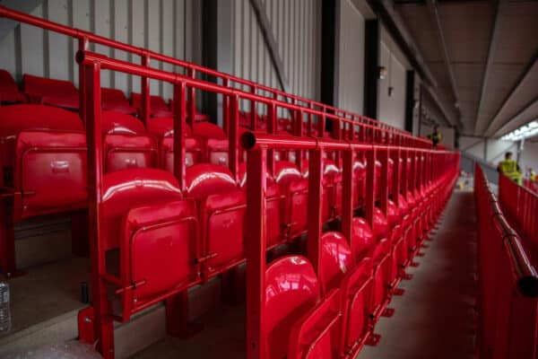 LIVERPOOL, ENGLAND - Thursday, August 5, 2021: Rail seats are installed in the Spion Kop as part of a nationwide trial by the Premier League. (Pic by David Rawcliffe/Propaganda)