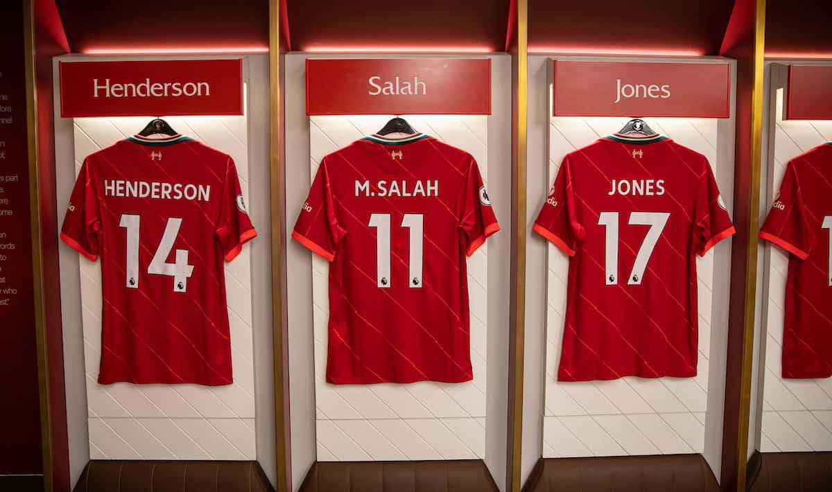 Anfield, changing room, matchday, Salah, Henderson, Jones. (Pic by David Rawcliffe/Propaganda)