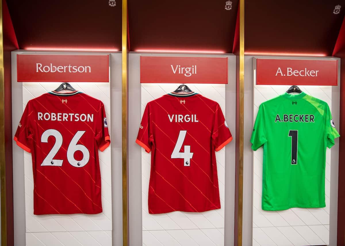 Anfield, changing room, matchday, Van Dijk, Robertson, Alisson shirts. (Pic by David Rawcliffe/Propaganda)