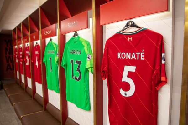 LIVERPOOL, ENGLAND - Thursday, August 5, 2021: Liverpool players' shirts, including Ibrahima Konaté, hanging in the dressing room at Anfield on display as part of the official stadium tour. (Pic by David Rawcliffe/Propaganda)