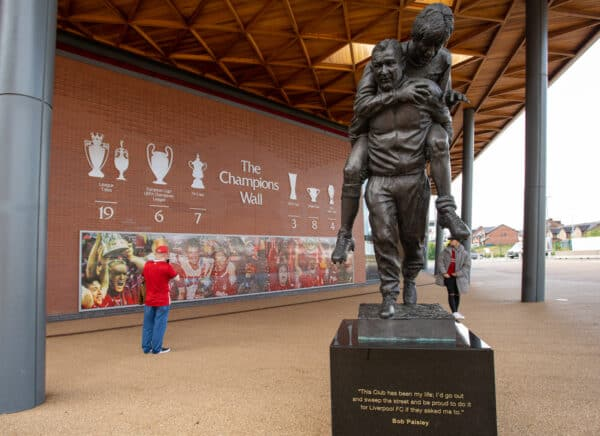LIVERPOOL, ENGLAND - Friday, August 6, 2021: The Champions Wall at Anfield. A mosaic of photographs of Liverpool supporters. (Pic by David Rawcliffe/Propaganda)
