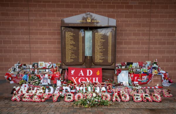 LIVERPOOL, ENGLAND - Friday, August 6, 2021: The eternal flame Hillsborough Memorial at Anfield. (Pic by David Rawcliffe/Propaganda)