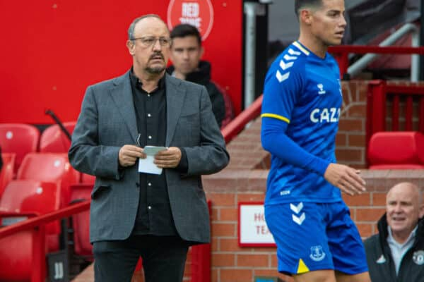 MANCHESTER, ENGLAND - Saturday, August 7, 2021: Everton's manager Rafael Benítez (L) and James Rodríguez during a pre-season friendly match between Manchester United FC and Everton FC at Old Trafford. (Pic by David Rawcliffe/Propaganda)