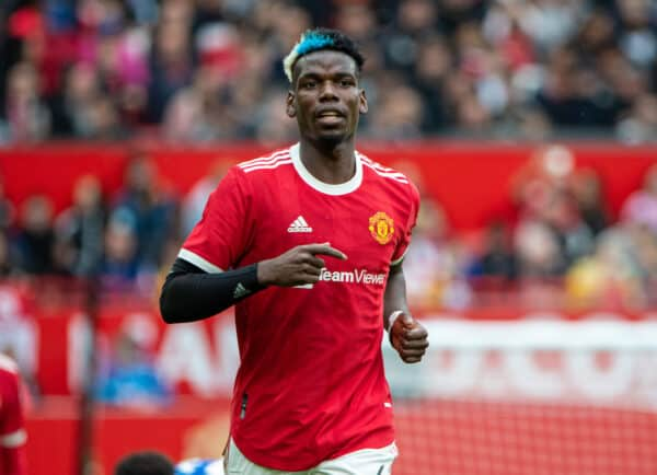 Manchester United's Paul Pogba, with dyed blue and white hair, during a pre-season friendly match between Manchester United FC and Everton FC at Old Trafford. (Pic by David Rawcliffe/Propaganda)