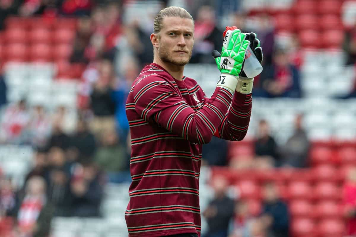 LIVERPOOL, ENGLAND - Sunday, August 8, 2021: Liverpool's goalkeeper Loris Karius during the pre-match warm-up before a pre-season friendly match between Liverpool FC and Athletic Club de Bilbao at Anfield. The game ended in a 1-1 draw. (Pic by David Rawcliffe/Propaganda)