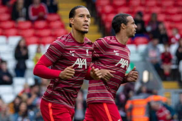 Liverpool's Virgil van Dijk during the pre-match warm-up before a pre-season friendly match between Liverpool FC and Athletic Club de Bilbao at Anfield. The game ended in a 1-1 draw. (Pic by David Rawcliffe/Propaganda)