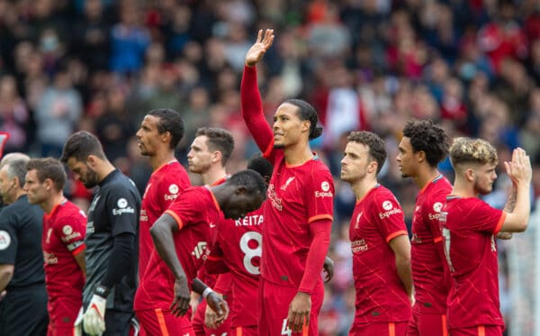 Anfield, matchday lineup, Salah (Pic by David Rawcliffe/Propaganda)