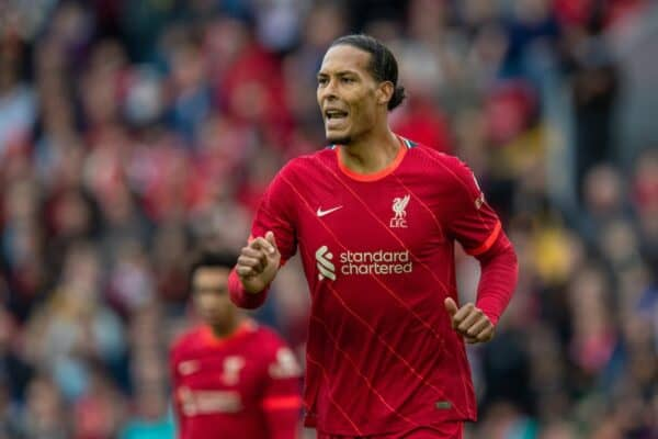 LIVERPOOL, ENGLAND - Sunday, August 8, 2021: Liverpool's Virgil van Dijk during a pre-season friendly match between Liverpool FC and Athletic Club de Bilbao at Anfield. The game ended in a 1-1 draw. (Pic by David Rawcliffe/Propaganda)