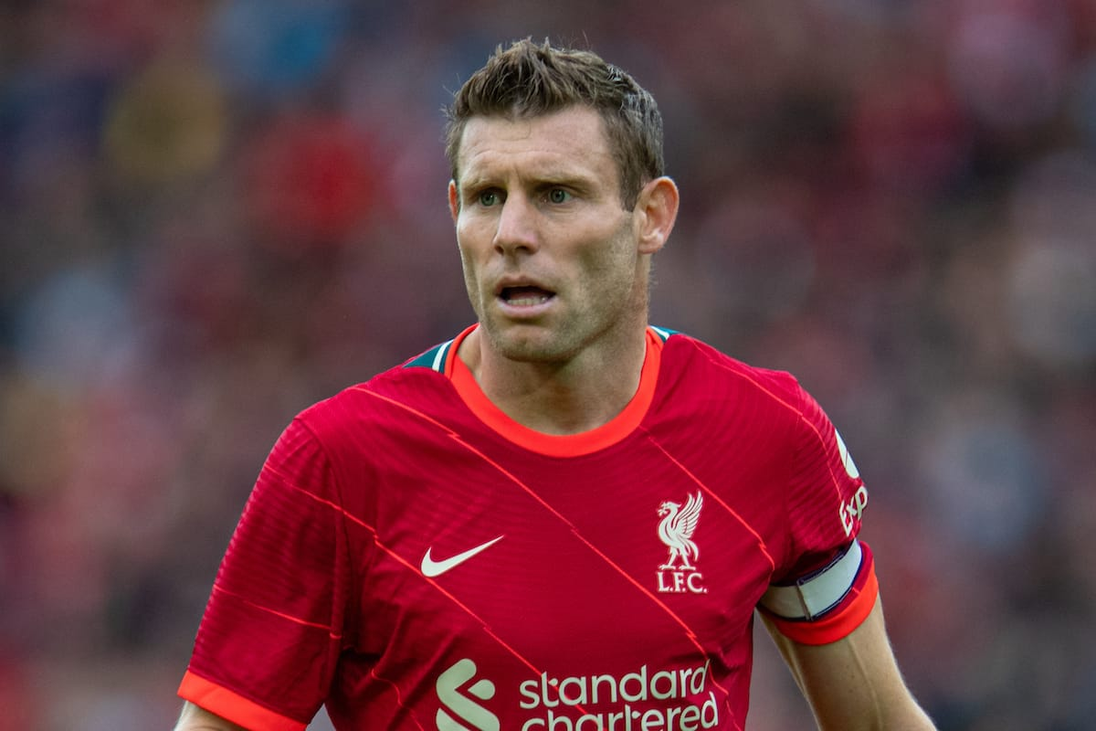 LIVERPOOL, ENGLAND - Sunday, August 8, 2021: Liverpool's James Milner during a pre-season friendly match between Liverpool FC and Athletic Club de Bilbao at Anfield. The game ended in a 1-1 draw. (Pic by David Rawcliffe/Propaganda)