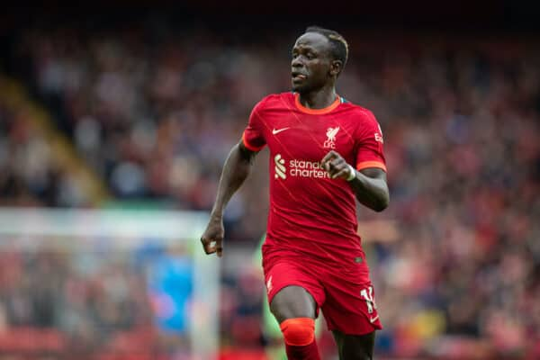 LIVERPOOL, ENGLAND - Sunday, August 8, 2021: Liverpool's Sadio Mané during a pre-season friendly match between Liverpool FC and Athletic Club de Bilbao at Anfield. The game ended in a 1-1 draw. (Pic by David Rawcliffe/Propaganda)