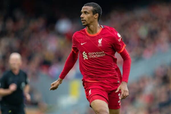 LIVERPOOL, ENGLAND - Sunday, August 8, 2021: Liverpool's Joel Matip during a pre-season friendly match between Liverpool FC and Athletic Club de Bilbao at Anfield. The game ended in a 1-1 draw. (Pic by David Rawcliffe/Propaganda)