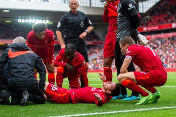 LIVERPOOL, ENGLAND - Sunday, August 8, 2021: Liverpool's Andy Robertson goes down with an injury during a pre-season friendly match between Liverpool FC and Athletic Club de Bilbao at Anfield. The game ended in a 1-1 draw. (Pic by David Rawcliffe/Propaganda)