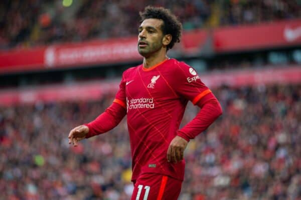 LIVERPOOL, ENGLAND - Sunday, August 8, 2021: Liverpool's Mohamed Salah during a pre-season friendly match between Liverpool FC and Athletic Club de Bilbao at Anfield. The game ended in a 1-1 draw. (Pic by David Rawcliffe/Propaganda)