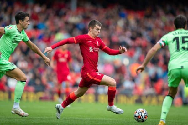LIVERPOOL, ENGLAND - Sunday, August 8, 2021: Liverpool's Ben Woodburn during a pre-season friendly match between Liverpool FC and Athletic Club de Bilbao at Anfield. The game ended in a 1-1 draw. (Pic by David Rawcliffe/Propaganda)