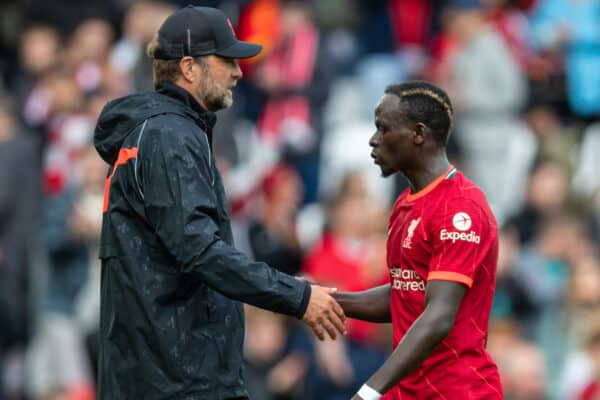 LIVERPOOL, ENGLAND - Sunday, August 8, 2021: Liverpool's manager Jürgen Klopp (L) and Sadio Mané after a pre-season friendly match between Liverpool FC and Athletic Club de Bilbao at Anfield. The game ended in a 1-1 draw. (Pic by David Rawcliffe/Propaganda)