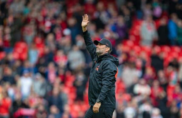 LIVERPOOL, ENGLAND - Sunday, August 8, 2021: Liverpool's manager Jürgen Klopp waves to the supporters after a pre-season friendly match between Liverpool FC and Athletic Club de Bilbao at Anfield. The game ended in a 1-1 draw. (Pic by David Rawcliffe/Propaganda)
