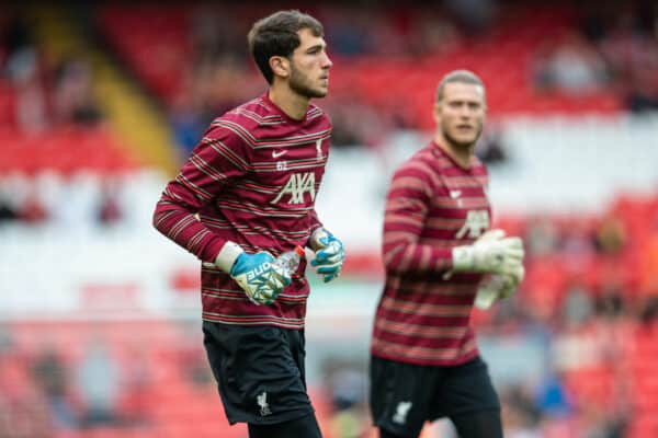 LIVERPOOL, ENGLAND - Monday, August 9, 2021: Liverpool's goalkeeper Harvey Davies during the pre-match warm-up before a pre-season friendly match between Liverpool FC and Club Atlético Osasuna at Anfield. (Pic by David Rawcliffe/Propaganda)
