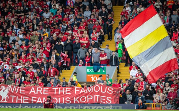 """LIVERPOOL, ENGLAND - Monday, August 9, 2021: Liverpool supporters' banner """"We are the famous Kopites"""" on the Spion Kop during a pre-season friendly match between Liverpool FC and Club Atlético Osasuna at Anfield. (Pic by David Rawcliffe/Propaganda)"""