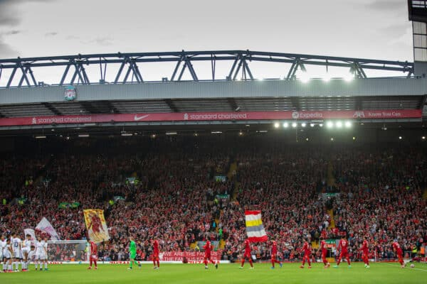 LIVERPOOL, ENGLAND - Monday, August 9, 2021: Liverpool's captain Roberto Firmino leads his side out before a pre-season friendly match between Liverpool FC and Club Atlético Osasuna at Anfield. (Pic by David Rawcliffe/Propaganda)