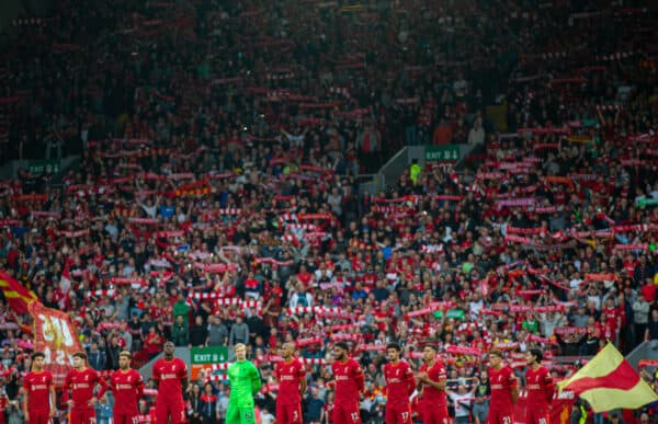 """LIVERPOOL, ENGLAND - Monday, August 9, 2021: Liverpool supporters sing """"You'll Never Walk Alone"""" before a pre-season friendly match between Liverpool FC and Club Atlético Osasuna at Anfield. (Pic by David Rawcliffe/Propaganda)"""