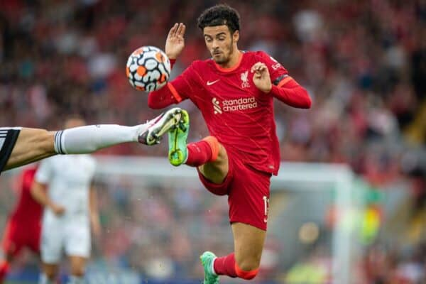 LIVERPOOL, ENGLAND - Monday 9 August 2021: Liverpool's Curtis Jones during a pre-season friendly match between Liverpool FC and Club Atlético Osasuna on Anfield.  (Image by David Rawcliffe / Propaganda)