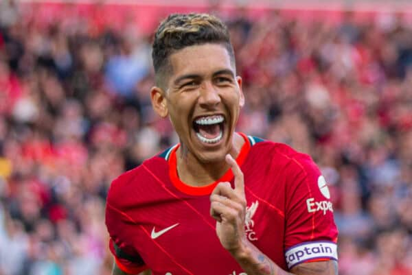 LIVERPOOL, ENGLAND - Monday, August 9, 2021: Liverpool's captain Roberto Firmino celebrates after scoring the second goal during a pre-season friendly match between Liverpool FC and Club Atlético Osasuna at Anfield. (Pic by David Rawcliffe/Propaganda)