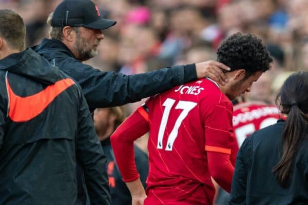 LIVERPOOL, ENGLAND - Monday, August 9, 2021: Liverpool's Curtis Jones is forced off with an injury during a pre-season friendly match between Liverpool FC and Club Atlético Osasuna at Anfield. (Pic by David Rawcliffe/Propaganda)