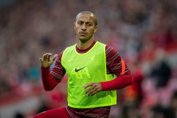 LIVERPOOL, ENGLAND - Monday, August 9, 2021: Liverpool's Thiago Alcantara warms-up during a pre-season friendly match between Liverpool FC and Club Atlético Osasuna at Anfield. (Pic by David Rawcliffe/Propaganda)