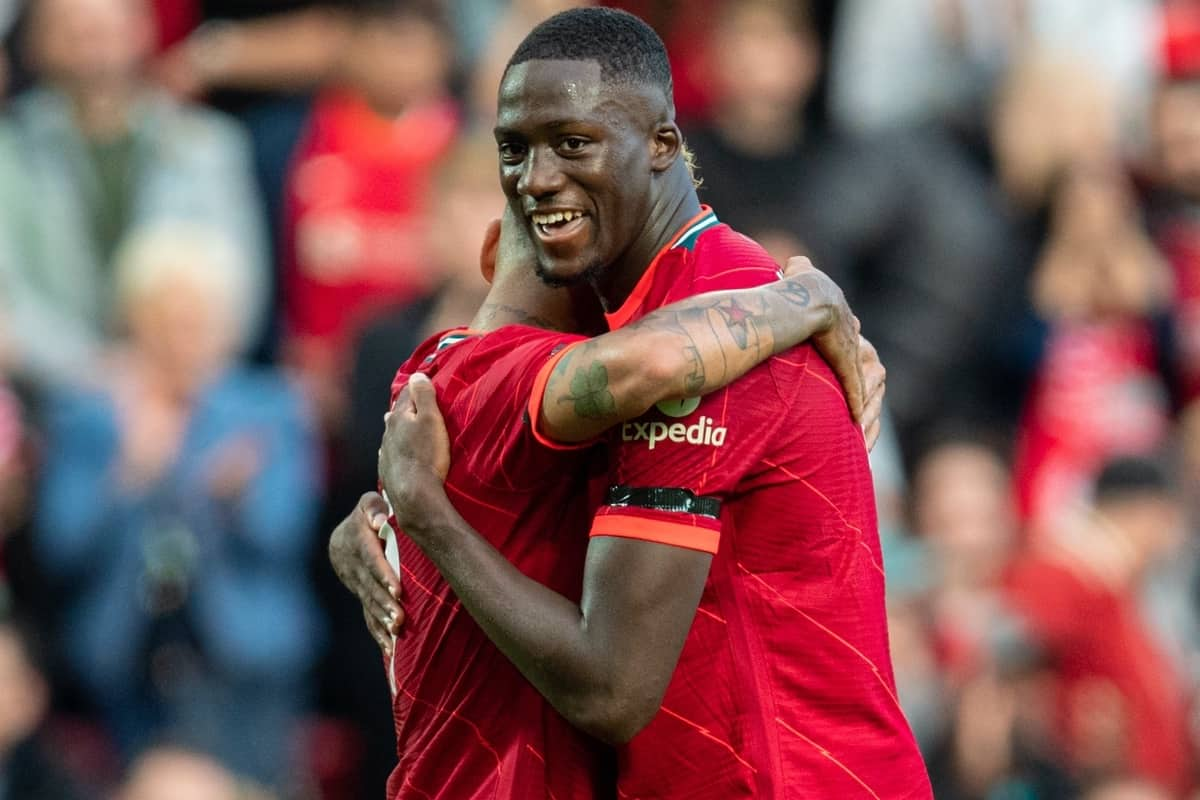 LIVERPOOL, ENGLAND - Monday, August 9, 2021: Liverpool's captain Roberto Firmino (L) celebrates after scoring the third goal, his second, with team-mate Ibrahima Konaté during a pre-season friendly match between Liverpool FC and Club Atlético Osasuna at Anfield. (Pic by David Rawcliffe/Propaganda)