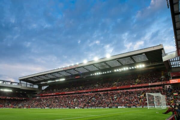 LIVERPOOL, ENGLAND - Monday, August 9, 2021: Supporters in the Kenny Dalglish Stand (formerly the Centenary and Kemlyn Road) during a pre-season friendly match between Liverpool FC and Club Atlético Osasuna at Anfield. (Pic by David Rawcliffe/Propaganda)