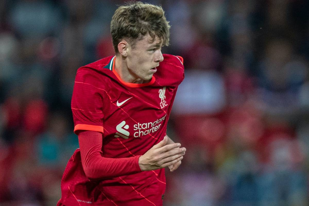 LIVERPOOL, ENGLAND - Monday, August 9, 2021: Liverpool's Conor Bradley during a pre-season friendly match between Liverpool FC and Club Atlético Osasuna at Anfield. (Pic by David Rawcliffe/Propaganda)
