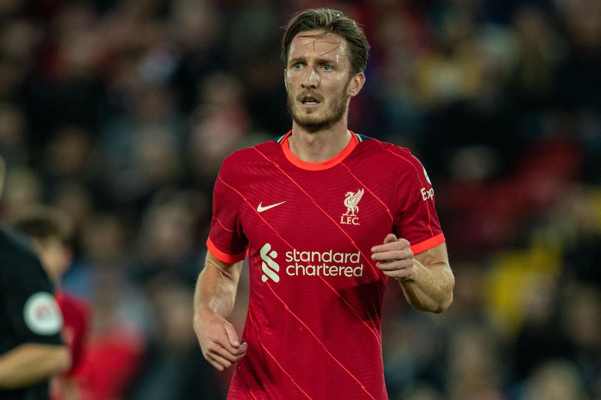 LIVERPOOL, ENGLAND - Monday, August 9, 2021: Liverpool's Ben Davies during a pre-season friendly match between Liverpool FC and Club Atlético Osasuna at Anfield. (Pic by David Rawcliffe/Propaganda)