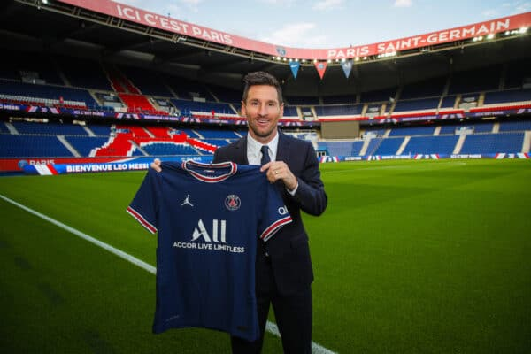 PARIS, FRANCE - Wednesday, August 11, 2021: Lionel Messi signs for Paris Saint-Germain Football Club from FC Barcelona, pictured at the Parc des Princes. (©PSG)