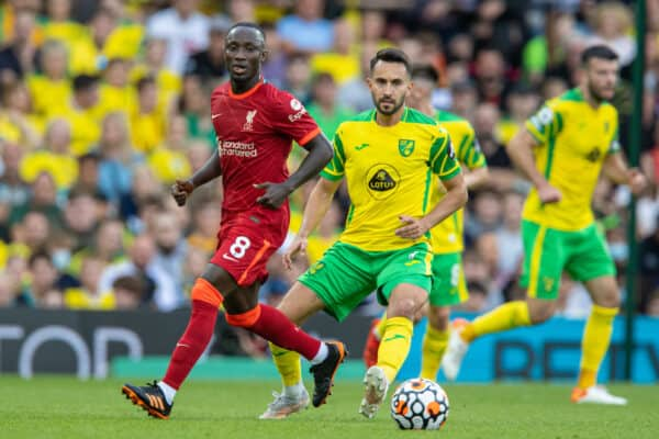 NORWICH, ENGLAND - Saturday, August 14, 2021: Liverpool's Naby Keita (L) during the FA Premier League match between Norwich City FC and Liverpool FC at Carrow Road. (Pic by David Rawcliffe/Propaganda)