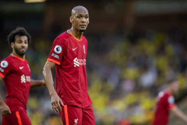 NORWICH, ENGLAND - Saturday, August 14, 2021: Liverpool's Fabio Henrique Tavares 'Fabinho' during the FA Premier League match between Norwich City FC and Liverpool FC at Carrow Road. (Pic by David Rawcliffe/Propaganda)