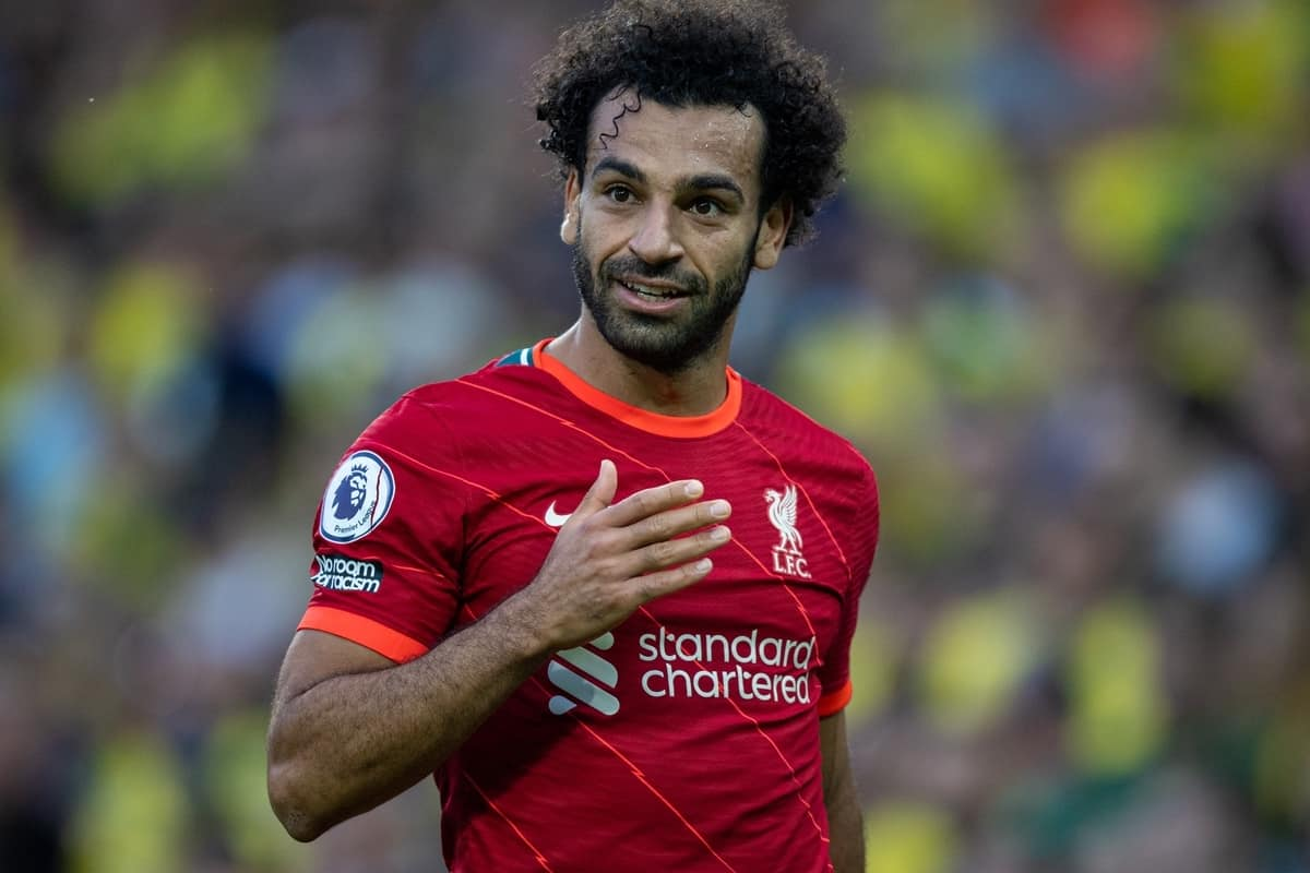NORWICH, ENGLAND - Saturday, August 14, 2021: Liverpool's Mohamed Salah during the FA Premier League match between Norwich City FC and Liverpool FC at Carrow Road. (Pic by David Rawcliffe/Propaganda)