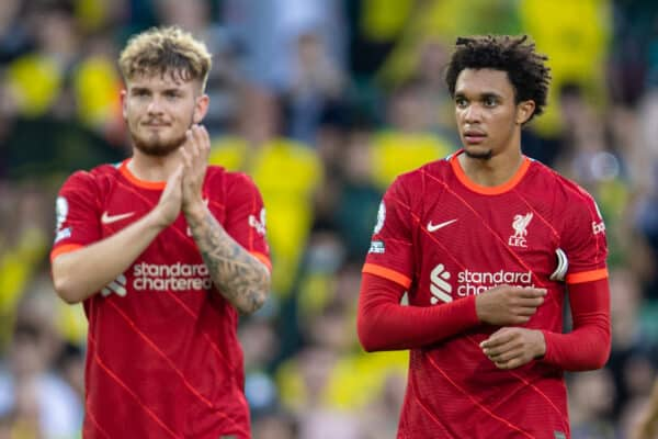 NORWICH, ENGLAND - Saturday, August 14, 2021: Liverpool's Harvey Elliott (L) and Trent Alexander-Arnold after the FA Premier League match between Norwich City FC and Liverpool FC at Carrow Road. (Pic by David Rawcliffe/Propaganda)