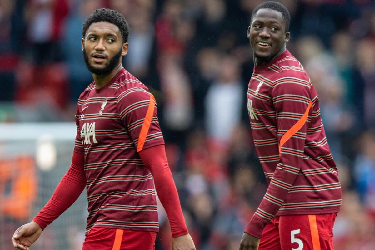 LIVERPOOL, ENGLAND - Saturday, August 21, 2021: Liverpool's Joe Gomez and Ibrahima Konaté during the pre-match warm-up before the FA Premier League match between Liverpool FC and Burnley FC at Anfield. Liverpool won 2-0. (Pic by David Rawcliffe/Propaganda)