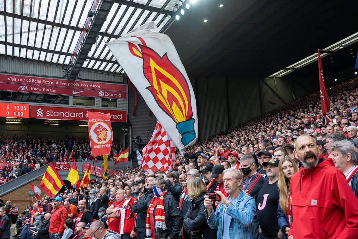 LIVERPOOL, ENGLAND - Saturday, August 21, 2021: Liverpool supporters' flag of the Hillsborough memorial eternal flame before the FA Premier League match between Liverpool FC and Burnley FC at Anfield. Liverpool won 2-0. (Pic by David Rawcliffe/Propaganda)