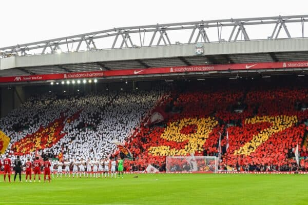 LIVERPOOL, ENGLAND - Saturday, August 21, 2021: Liverpool supporters on the Spion Kop pay tribute with a mosaic to Andrew Devine who became the 97th victim of the Hillsborough Stadium Disaster during the FA Premier League match between Liverpool FC and Burnley FC at Anfield. Liverpool won 2-0. (Pic by David Rawcliffe/Propaganda)