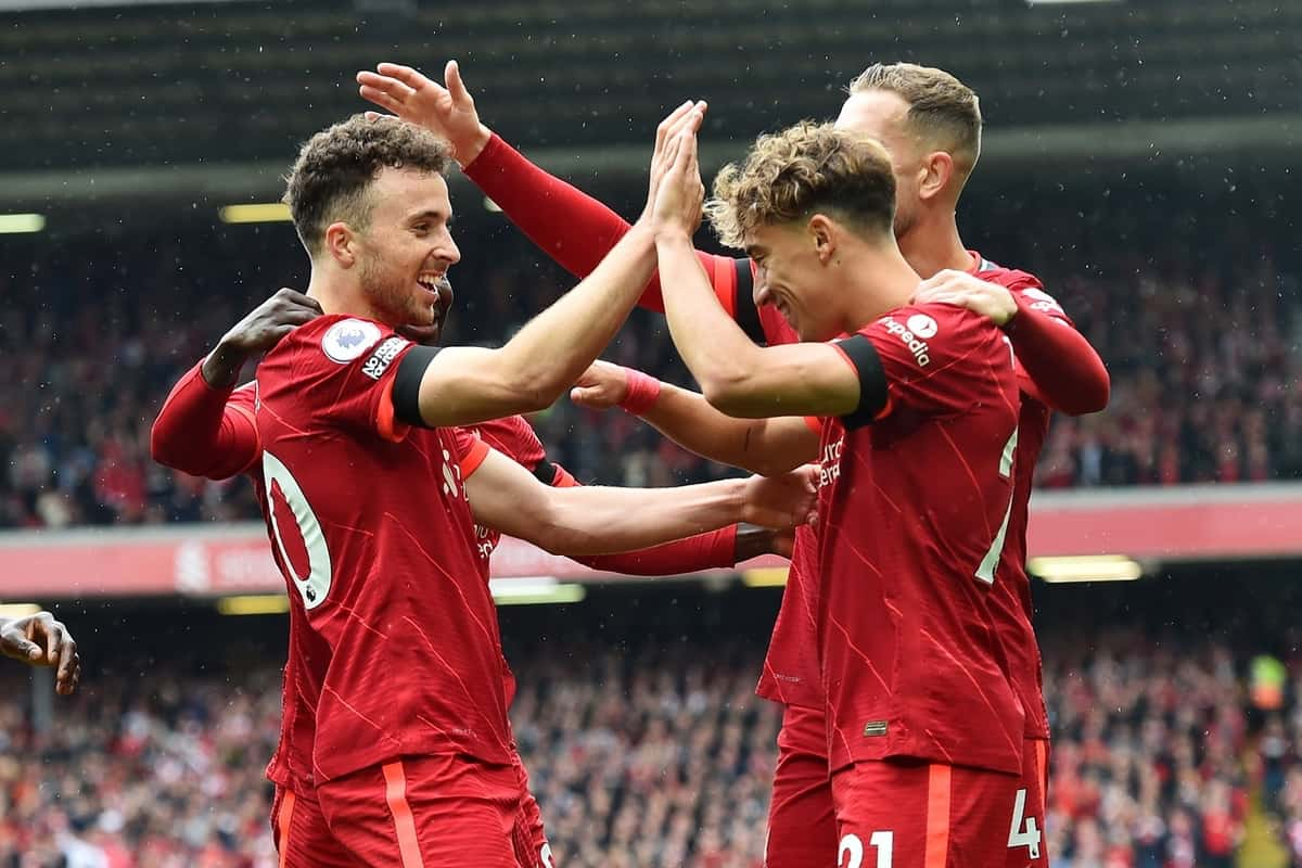 LIVERPOOL, ENGLAND - Saturday, August 21, 2021: Liverpool's Diogo Jota celebrates after scoring the first goal during the FA Premier League match between Liverpool FC and Burnley FC at Anfield. Liverpool won 2-0. (Pic by David Rawcliffe/Propaganda)